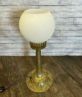 """Vtg Gold Tone Ornate Hollywood Regency Bedside Table Desk Lamp White Globe 14"""""""