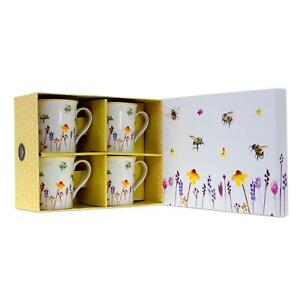 Busy Bees Set of 4 Mugs Drinking Cups Watercolour Floral Print Design Gift Boxed