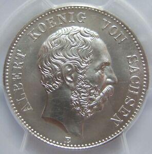 2 Mark Saxony Albert 1893 E IN Brillant uncirculated PCGS MS63 Rare