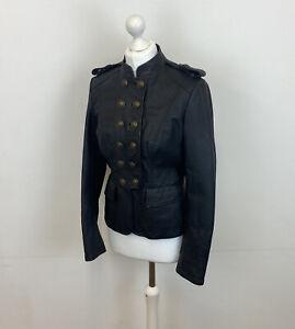 Next Leather Military Steampunk Jacket Black Goth Sz 10 UK Ladies