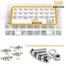 520x Stainless Steel Screw And Nut Hex Socket Head Cap Screws Assortment Set Kit