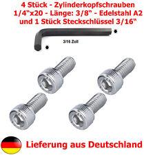 """4xZylinderschraube (1/4""""Zoll, Gewindelänge 9,5mm, Edelstahl A2)+Steckschlüssel"""