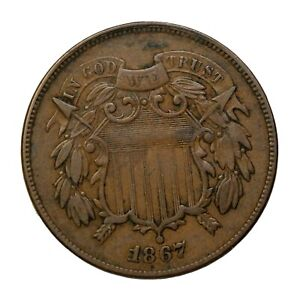 1867 Two Cent Piece 2c United States Coin KM#94