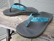 fc160cfd39a52c Chaco Blue Multi Pattern Thong Flip-Flop Sandal Women s US 6 Vegan Friendly  CUTE