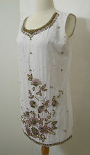 VINTAGE Sheer White Heavily Floral Beaded Sleeveless Tunic Dress Top S
