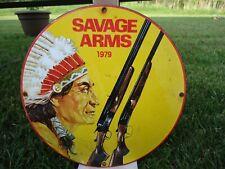 OLD VINTAGE 1979 SAVAGE ARMS PORCELAIN ENAMEL SIGN INDIAN WINCHESTER