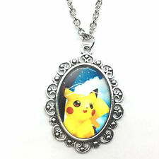 Pokemon Pikachu Photo Cabochon Glass Tibet Silver Chain Necklaces & Pendants