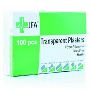 JFA Transparent Washproof Assorted Plasters (6 Sizes) 100 Plasters Per Box
