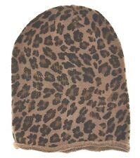 """D&Y Leopard Long Beanie Knit Hat 10"""" Beige khaki"""