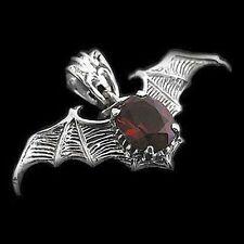 Silber Anhänger - Bat Wings Fledermaus rotem Zirkonia - 925er Sterling Silber
