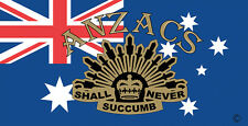 ANZAC STICKER ANZACS SHALL NEVER SUCCUMB ON AUSTRALIAN FLAG STICKER 4C OZ MADE