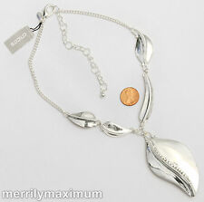 Chico's Signed Necklace Stunning Silver Tone Leaf Chain Crystal Accents NWT