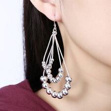 Women 925 Sterling Silver Chandelier Beaded Ball Curve Long Drop Dangle Earrings