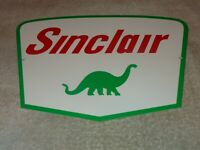 "VINTAGE SINCLAIR DINO THE DINOSAUR PUMP PLATE 12"" x 8"" METAL GASOLINE & OIL SIGN"