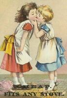 AK-110 MA, Fitchburg Rutland Stove Lining Victorian Trade Card Girls Kissing