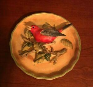 VINTAGE 3D Tanager Bird Napco ceramic wall hanging Plaques RARE Japan