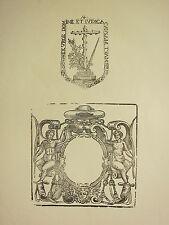 Antico in legno del 15 stampa ~ MEDIEVALE Cornice Ornamentale ~ GOTHIC CROSS & SPADA Seal