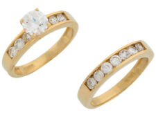 Engagement Ring and Wedding Band Duo Set 10k or 14k Yellow Gold White Cz Ladies