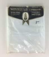 Springmaid Wondercale VTG Twin Fitted Bed Sheets No-Iron Percale Made In USA NIP