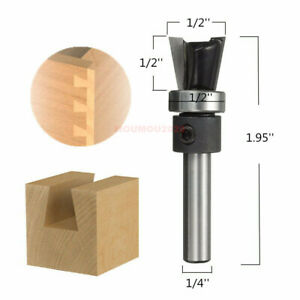 """10° 1/4"""" Shank Carbide Dovetail Joint Router Bit with Bearing Woodworking Cutter"""