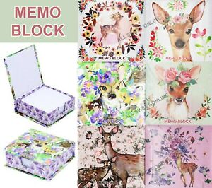 2-6pk 250 Sheets Memo Block Writing Pad Notebook Office Desk Fawn Deer Series