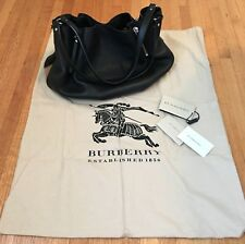 Authentic Burberry Brit Black Leather Canvas Check Medium Maidstone Tote Bag 4ba6a8425cc83