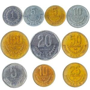 10 DIFFERENT COINS FROM COSTA RICA. CENTRAL AMERICAN COLLECTIBLE MONEY: COLONES