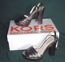 Michael Kors Isabella Womens Size 5.5 M Gunmetal Leather Sandals Shoes, NIB