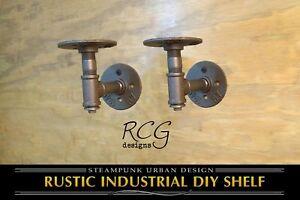 "Pair 2x3"" L Brackets DIY Pipes B (6""-8"" deep shelf) urban steampunk rustic decor"