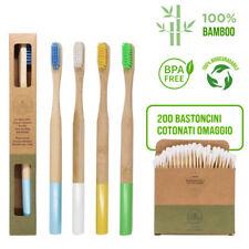 Set di 4 spazzolini Bamboo | 100% Naturale | OMAGGIO 200 cotton fioc in bambu