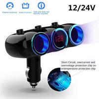 12V 24V Dual USB Car Charger 2 Way Cigarette Lighter Socket w/Digital Voltmeter
