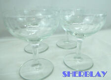 Vintage Set of 4 Clear Etched Wreath Crystal Champagne Coupe Wine Glasses Stems
