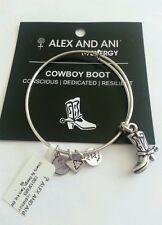 Alex And Ani COWBOY BOOT Charm Bangle Bracelet BOX NWT Russian Silver