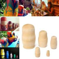 New 5pcs/Set Unpainted  Russian Nesting Dolls DIY Blank Wooden Embryos Toy Gift