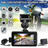 """3"""" LCD Motorcycle HD DVR Dash Cam Front + Rear Video Recorder Camera Dual Lens"""