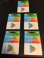 (5) Google Play Gift Cards NEW SEALED!!!Empty 10.00 capacity PER CARD! NO VALUE!