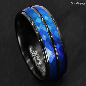 8/6mm Black Blue Brushed Crystal Skin Tungsten Ring Men Bridal Band ATOP Jewelry