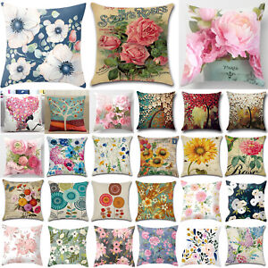 Home Dec Floral Printed Cotton Linen Pillow Case Garden Sofa Waist Cushion Cover