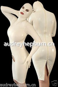 Latex Rubber White Catsuit Fashion Sexy Stylish Hood and Dress gloves Size S-XXL