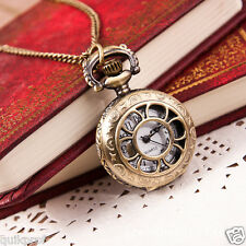 Retro  Leaves Vintage Style Pocket Watch Gears Parts Charm Chain Necklace NW-6