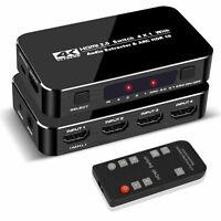 Full HD 3D 4 in 1 HDMI Switcher Video Audio Adapter Optical TOSLINK 4K x 2K@60Hz