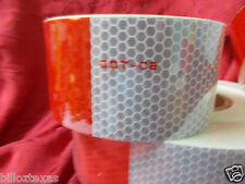 20 feet RED / WHITE Conspicuity Tape DOT C2 Free Ship, Reflective Safety 7 yr