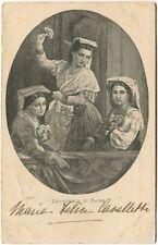 1901 Ritratto donne Carnevale Roma Costumi d'epoca Ferrovia France FP B/N VG