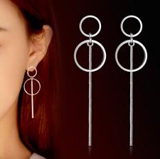 925 Sterling Silver Korean Women Round Circle Tassel Drop Dangle Stud Earrings
