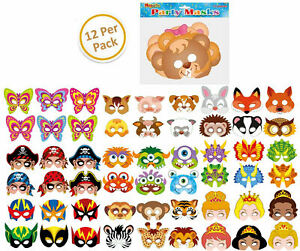 12 Cardboard Paper Masks  - Loot/Party Bag Fillers Costume Kids Fancy Dress Gift