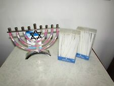 Hanukkah Silver Menorah Pink  Epoxy Finish Multi-Colored Inlay with 90 Candles