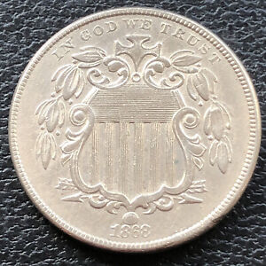1868 Shield Nickel 5c High Grade AU #28823