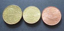 5,10+20 Cent Euro Münze Griechenland Prägejahr 2002, aus Umlauf, Sammlerstücke!