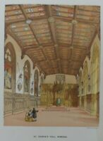Antique lithograph print - St George's hall Windsor - Leighton Bros