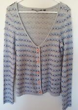 Anthropologie Knitted & Knotted Woman's Sweater Gray Cardigan Sz L Geometric